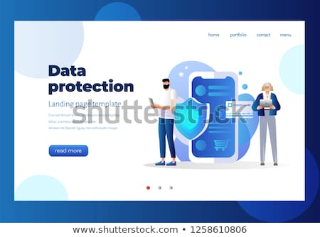 Personal Data Security Landing Page Template Stock photo © -TAlex-