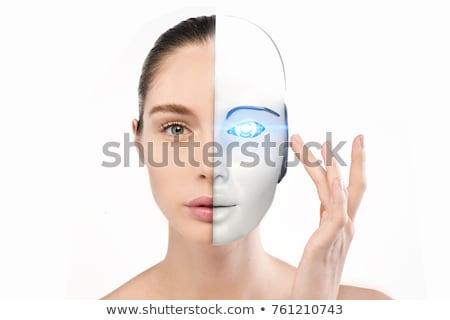 Woman Half Robot Face Stock photo © AndreyPopov