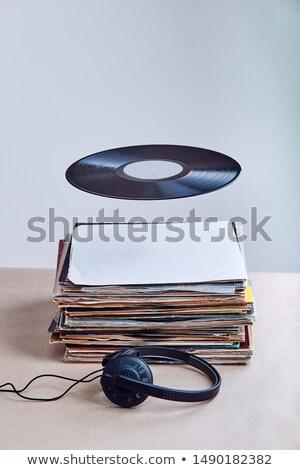 Zwarte vinyl lucht veel records Stockfoto © przemekklos
