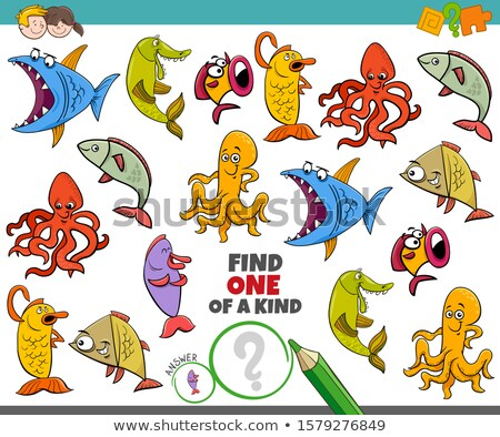 one of a kind game for kids with marine animals Stock photo © izakowski