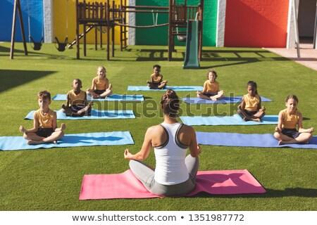 вид сзади кавказский тренер преподавания йога студентов Сток-фото © wavebreak_media