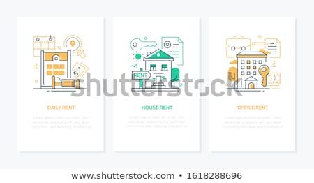Bérlet szolgáltatások vonal terv stílus bannerek Stock fotó © Decorwithme