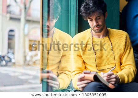 Férfi notebook napló ír figyelmeztetés életstílus Stock fotó © dolgachov