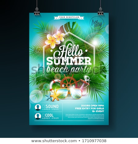 Summer Beach Party Flyer Design With Flower Lifebelt And Sunglasses On Yellow Background Vector Su Stok fotoğraf © articular