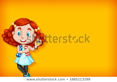 Background template with plain color wall and happy girl Stock photo © bluering