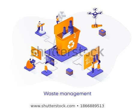 Waste sorting - modern colorful isometric vector web banner Stock photo © Decorwithme