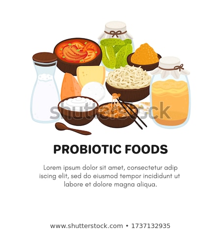 Vector probiotic foods. Best sources of probiotics. Beneficial bacteria improve health. Design is fo Stock photo © user_10144511