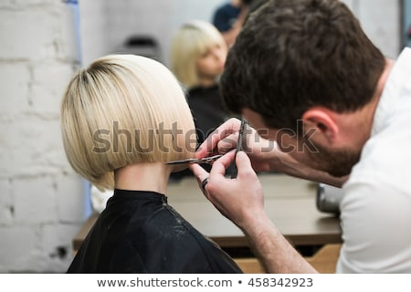 Man Cutting Short Hair At Salon Stock photo © AndreyPopov