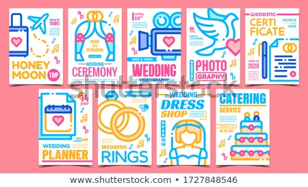 Wedding Videography Advertising Poster Vector Flat Illustration Stock photo © pikepicture