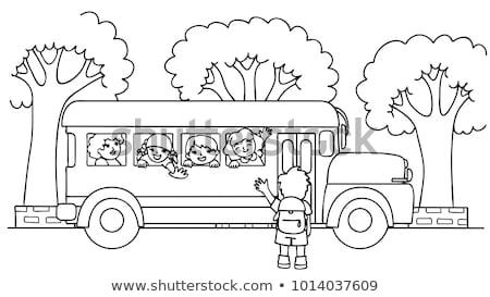 Iskolabusz oldal vissza az iskolába gyerekek iskola vektor Stock fotó © natali_brill