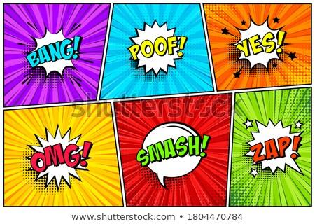 ワウ 吹き出し バナー ポスター 文字 幾何学的な ストックフォト © FoxysGraphic