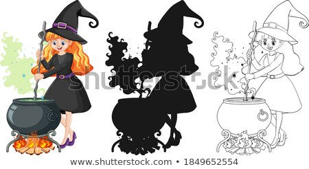 Witch with black magic pot in color and outline and silhouette c Stock photo © bluering