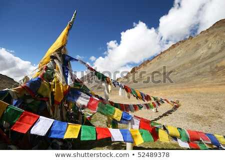 Road and Buddhist prayer flags in Ladakh Stock photo © dmitry_rukhlenko