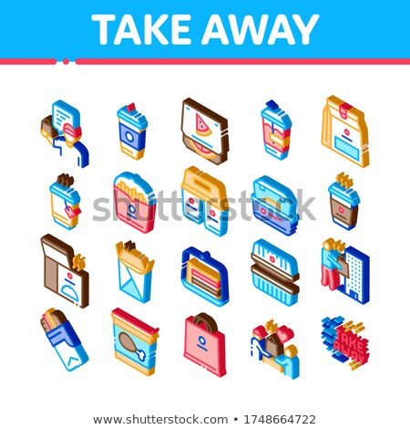 Take Away Food And Drink Delivery Isometric Icons Set Vector Stock photo © pikepicture