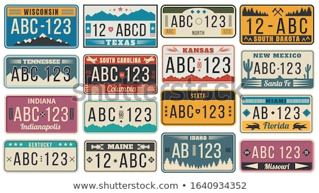 Auto plate and car numbers set of vehicle registration in USA states. Car plates. Vehicle license nu Stock photo © robuart