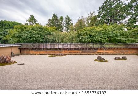 Zen taş bahçe tapınak kyoto kaya Stok fotoğraf © Arrxxx