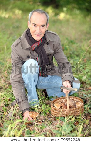 65 years old man kneeling and picking mushrooms Stock photo © photography33