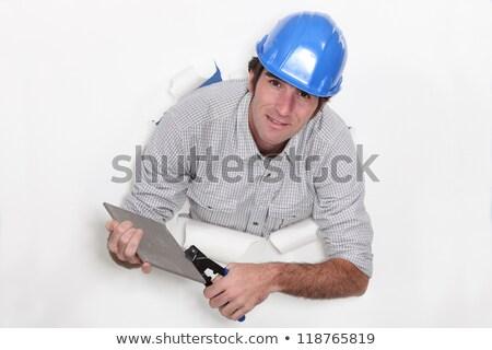 Férfi pár csempe belső padló fehér Stock fotó © photography33