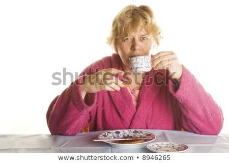 Blond vrouw dressing toga drinken koffie Stockfoto © photography33