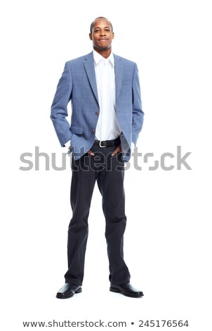 Afro American Man Standing On White Background Сток-фото © kurhan