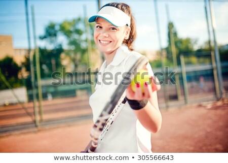 brunette tennis sport girl with white dress Stock photo © lunamarina