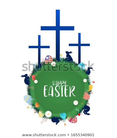 easter day symbols background eggs crosses and flowers vector stock photo © leonido