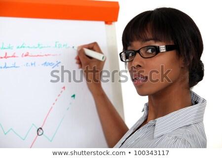 mulher · jovem · escrita · plano · vidro · painel · escritório - foto stock © photography33