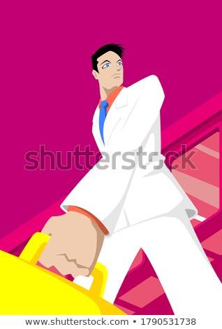 Driven young businessman with briefcase Stock photo © photography33