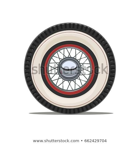 Stockfoto: Oldtimer · wiel · Rood · lichaam · weg · achtergrond