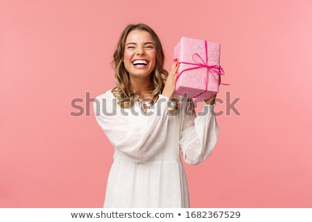 Nő ajándék szexi nő fehér papír mosoly Stock fotó © prg0383