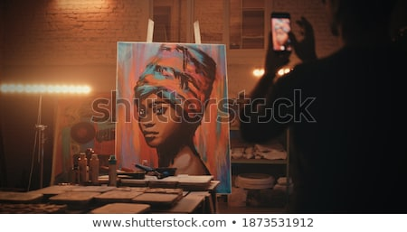 Woman from behind with portfolios Stock photo © photography33