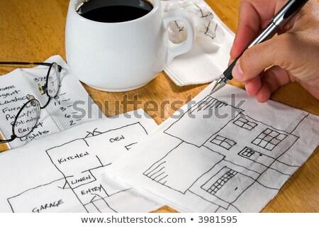 белый · бумаги · Кубок · кофе · кофейный · столик - Сток-фото © a2bb5s