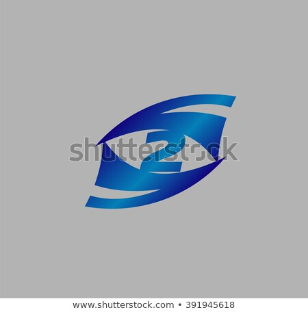 Abstract blue metallic symbol with 2 elements. Spiral   Stock photo © MONARX3D
