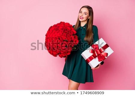mooie · brunette · binnenkant · geschenkdoos · portret · jonge - stockfoto © victoria_andreas