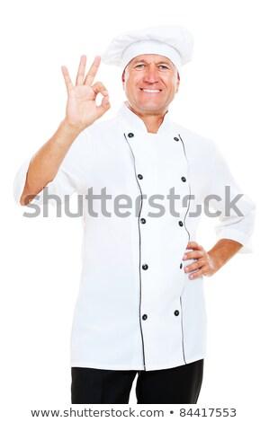 volwassen · chef · uniform · tonen · teken - stockfoto © wavebreak_media