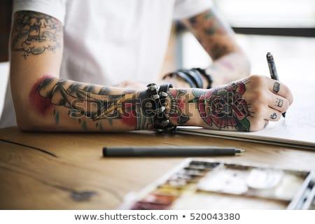 tetoválás · női · ajkak · kozmetikai · közelkép · arc - stock fotó © fotoduki