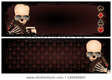 two banners with poker skeleton vector stock photo © carodi