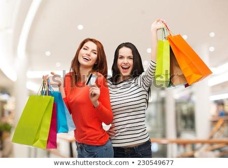 kettő · piros · papír · bevásárlótáskák · izolált · fehér - stock fotó © rob_stark