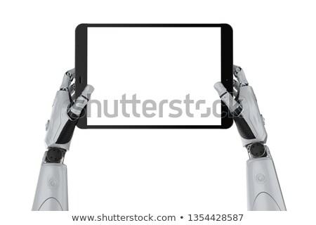 Android robot tart képernyő tabletta hirdetés Stock fotó © Kirill_M