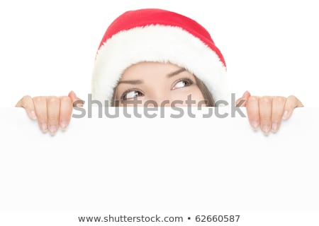 Smiling christmas girl with red placard on white Stock photo © vlad_star