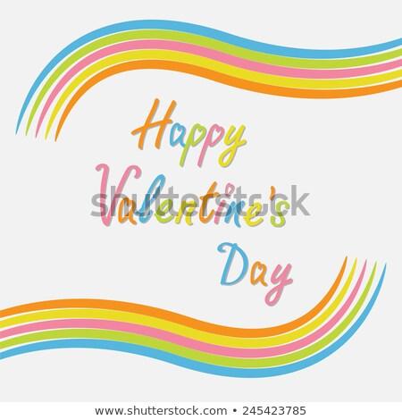 beautiful card happy valentines day hearts stylish text backgro stock photo © bharat