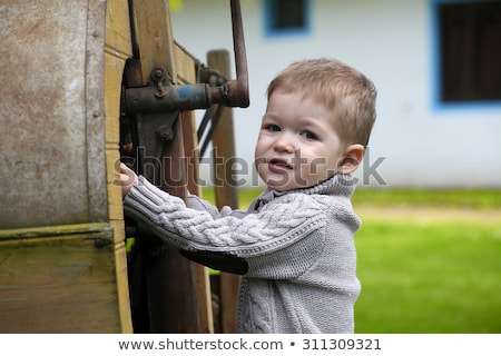 2 years old curious Baby boy managing with old agricultural Mach Stock photo © vladacanon