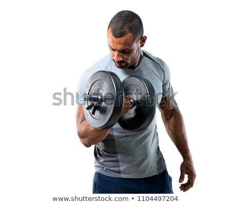 Man with dumbbells isolated on white Stock photo © Elnur