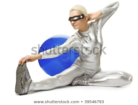 beautiful cyber woman doing stretching exercise stock photo © nejron