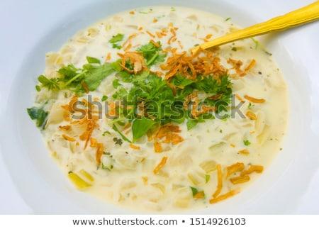 előétel · tükörtojás · sonka · zöldségek · zöld · reggeli - stock fotó © Makse