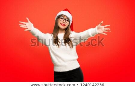 csinos · lány · piros · kalap · hív · jött - stock fotó © feelphotoart