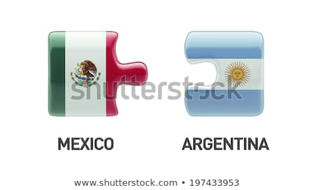 Аргентина Мексика флагами головоломки вектора изображение Сток-фото © Istanbul2009