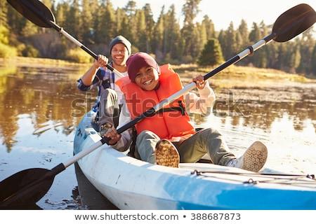 Apa fia kajak illusztráció víz sport jókedv Stock fotó © adrenalina
