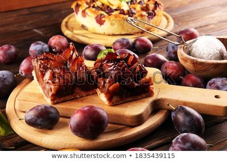 házi · készítésű · szilva · pite · szelektív · fókusz · étel · gyümölcs - stock fotó © zoryanchik