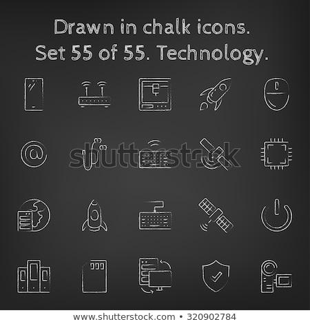 identificación · tarjeta · icono · tiza · dibujado · a · mano - foto stock © rastudio
